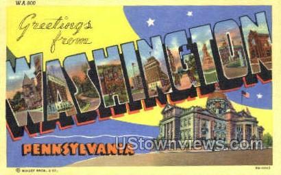 Greetings from - Washington, Pennsylvania PA Postcard