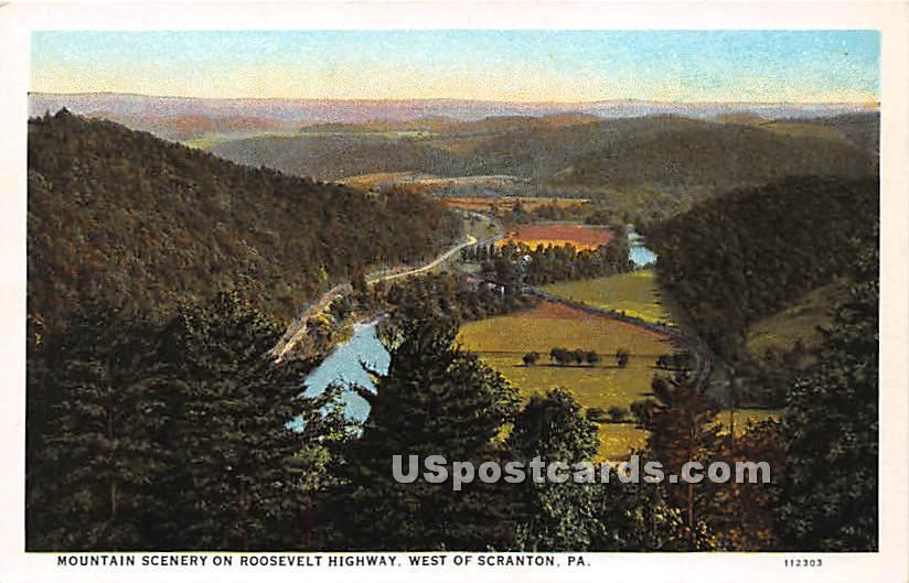 Roosevelt Highway - Scranton, Pennsylvania PA Postcard