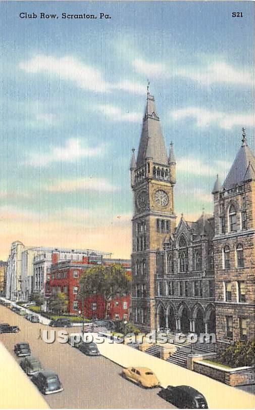 Club Row - Scranton, Pennsylvania PA Postcard