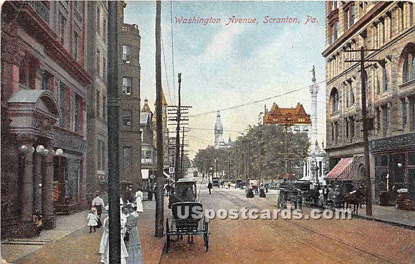 Washington Avenue - Scranton, Pennsylvania PA Postcard