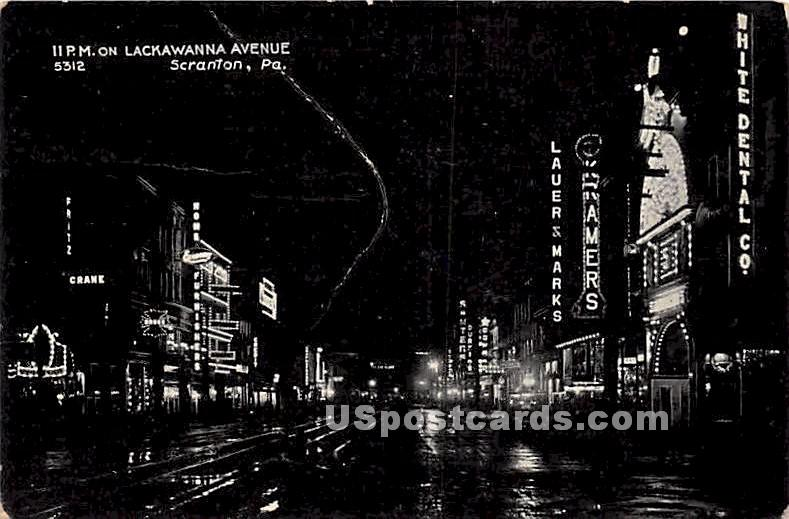 Lackawanna Avenue - Scranton, Pennsylvania PA Postcard