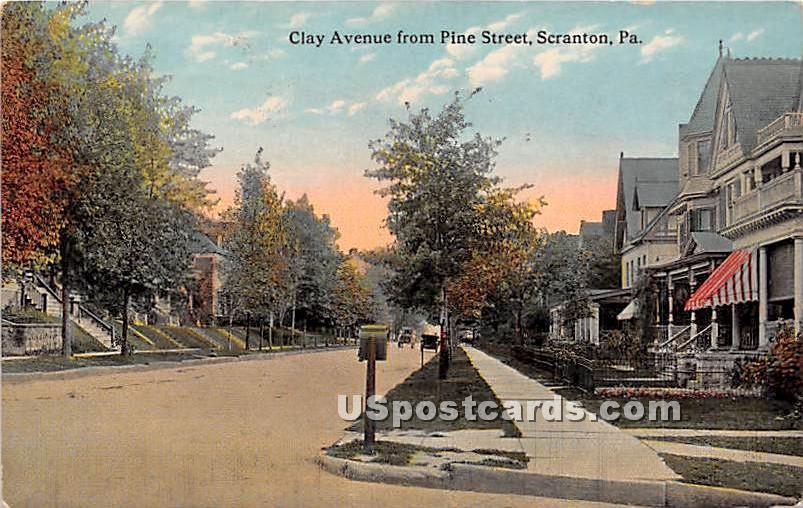 Clay Avenue - Scranton, Pennsylvania PA Postcard