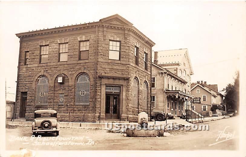 Bank & Public Fountain - Schaefferstown, Pennsylvania PA Postcard