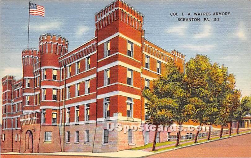 Col LA Watres Armory - Scranton, Pennsylvania PA Postcard