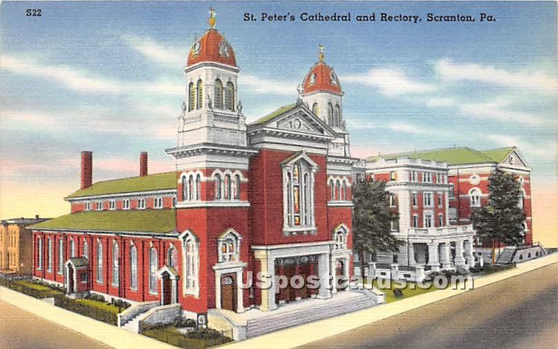 St Peter's Cathedral & Rectory - Scranton, Pennsylvania PA Postcard