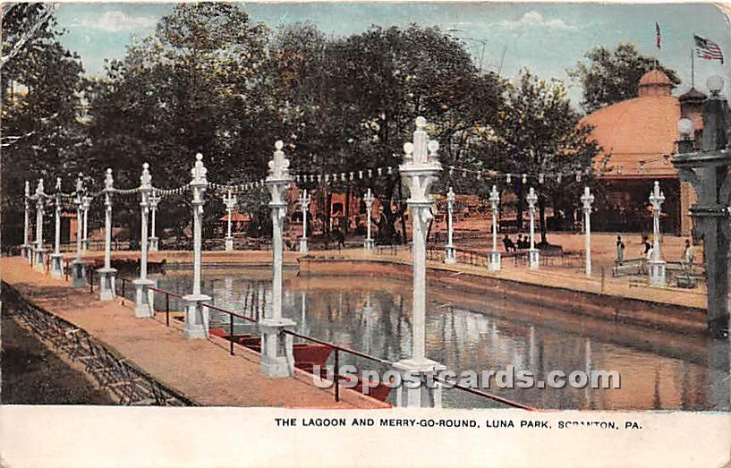 Lagoon & Merry-Go-Round - Scranton, Pennsylvania PA Postcard
