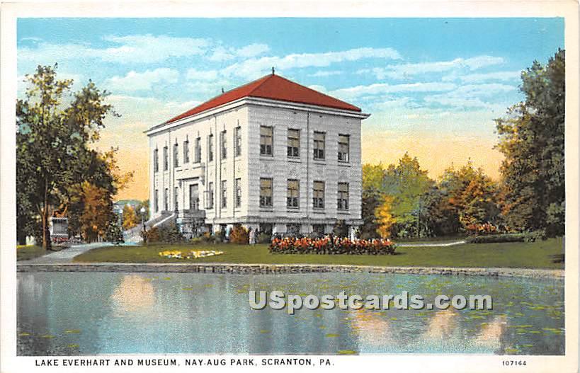 Lake Everhart & Museum - Scranton, Pennsylvania PA Postcard