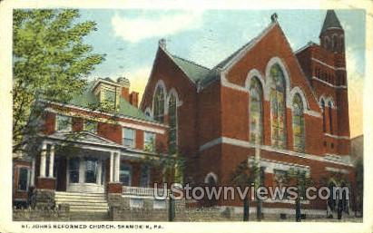St. Johns Reformed Church - Shamokin, Pennsylvania PA Postcard