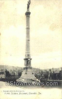 Soldiers Monument - Shamokin, Pennsylvania PA Postcard