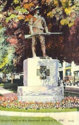 Spanish American War Monument - Shamokin, Pennsylvania PA Postcard