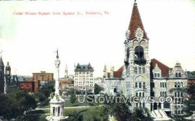 Court House Square, Spruce St. - Scranton, Pennsylvania PA Postcard