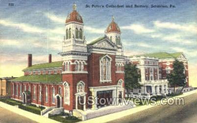 St. Peter's Cathedral & Rectory - Scranton, Pennsylvania PA Postcard