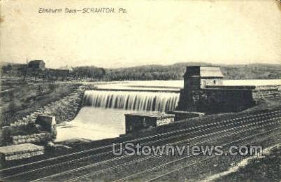 Elmhurst Dam - Scranton, Pennsylvania PA Postcard