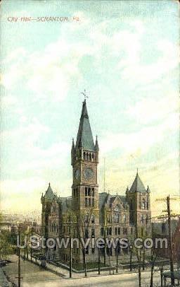City Hall, Scranton - Pennsylvania PA Postcard
