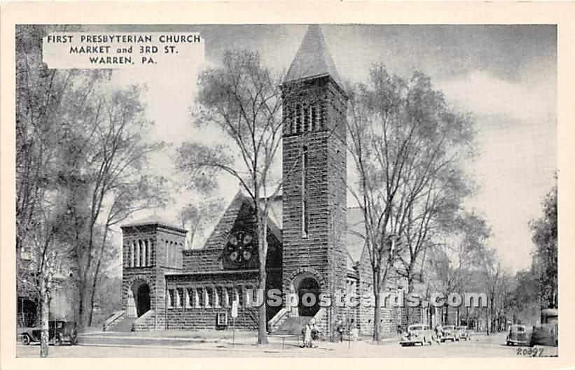 First Presbyterian Church - Warren, Pennsylvania PA Postcard