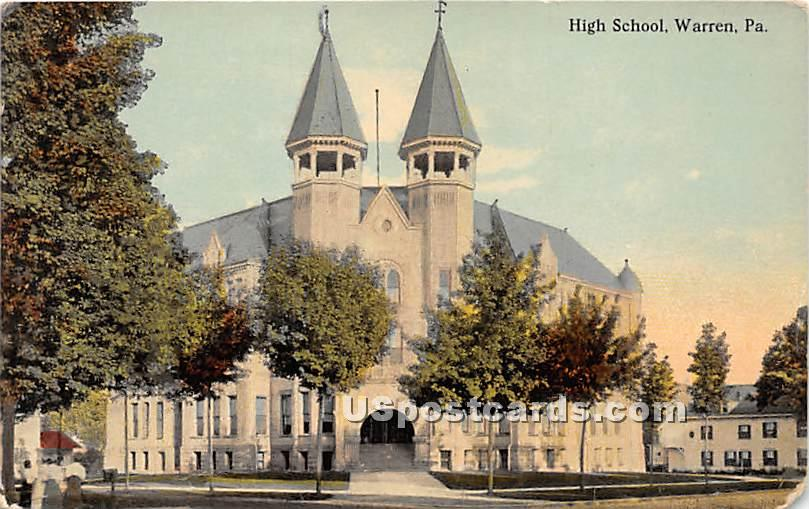 High School Building - Warren, Pennsylvania PA Postcard