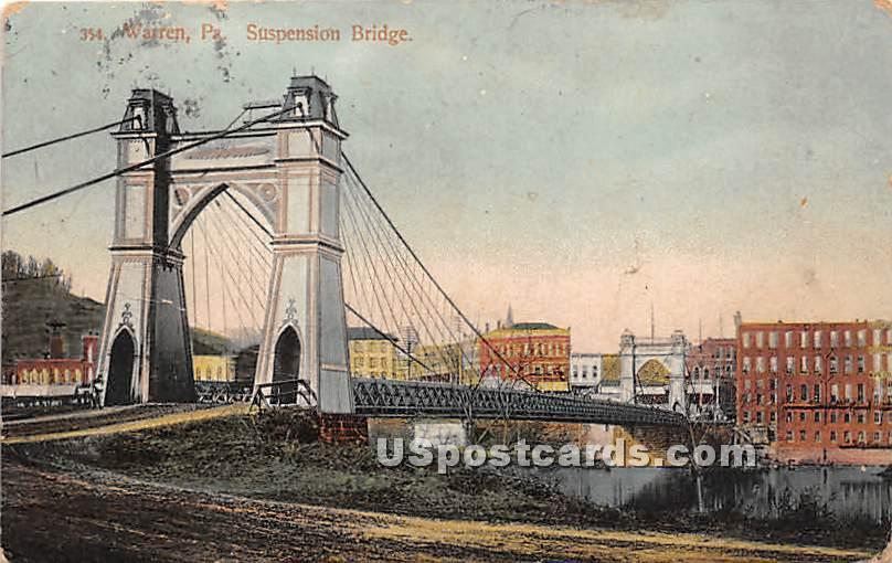 Suspension Bridge - Warren, Pennsylvania PA Postcard