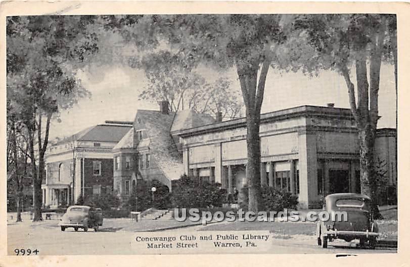 Conewango Club & Public Library - Warren, Pennsylvania PA Postcard