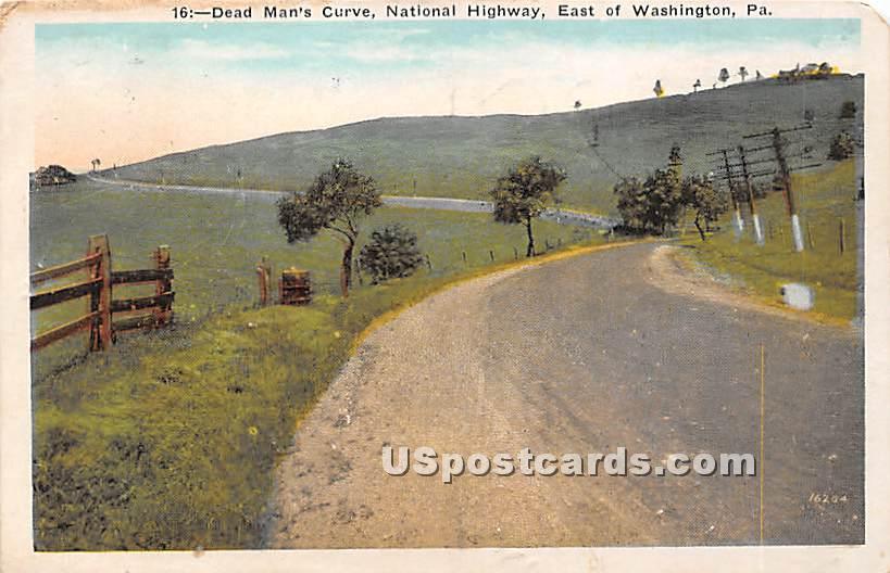 Dead Man's Curve - Washington, Pennsylvania PA Postcard