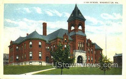 High School, Washington - Pennsylvania PA Postcard