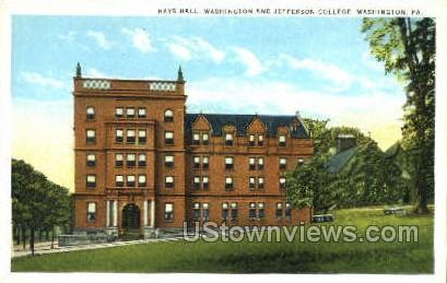 Hays Halls, Washington - Pennsylvania PA Postcard