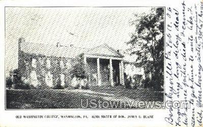 Old Washington College - Pennsylvania PA Postcard