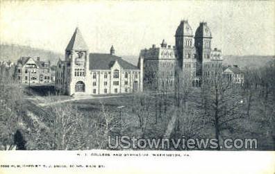 W.J. College & Gym - Washington, Pennsylvania PA Postcard
