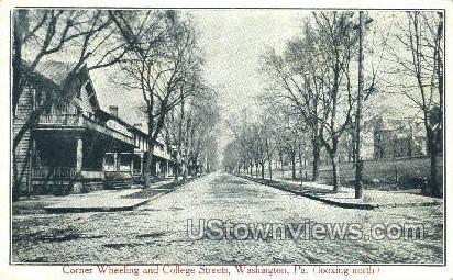 Corner Wheeling & College Street - Washington, Pennsylvania PA Postcard