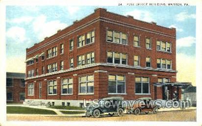 Post Office, Warren - Pennsylvania PA Postcard