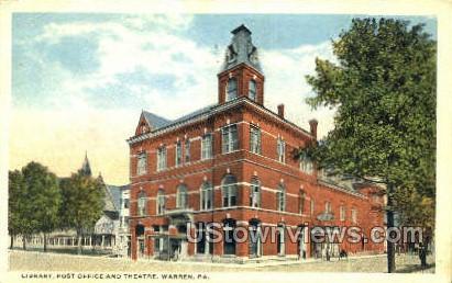 Library, Post Office & Theatre - Warren, Pennsylvania PA Postcard
