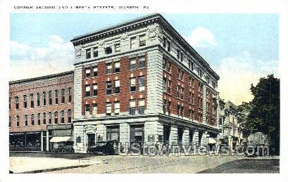 Second & Liberty Streets - Warren, Pennsylvania PA Postcard