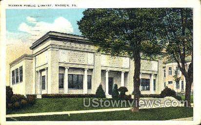 Warren Public Library - Pennsylvania PA Postcard