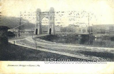 Suspension Bridge Allegheny River - Warren, Pennsylvania PA Postcard