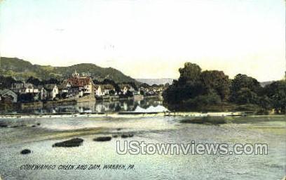 Conewango Creek & Dam - Warren, Pennsylvania PA Postcard