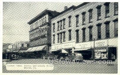 Penn. Ave. & Liberty Street - Warren, Pennsylvania PA Postcard
