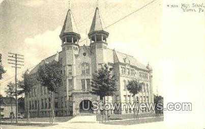 High School, Warren - Pennsylvania PA Postcard