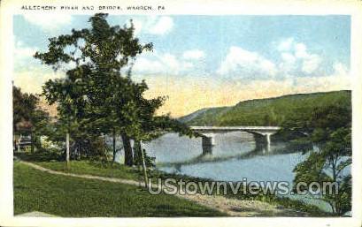 Allegheny River & Bridge - Warren, Pennsylvania PA Postcard