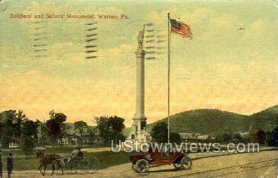 Soldiers' & Sailors' Monument - Warren, Pennsylvania PA Postcard