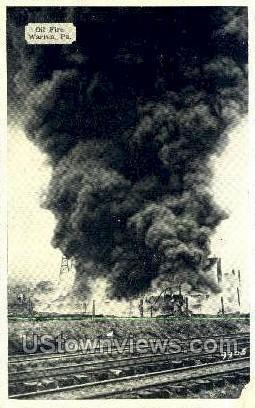 Oil Fire - Warren, Pennsylvania PA Postcard