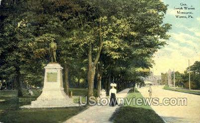 Gen. Jospeh Warren Monument - Pennsylvania PA Postcard