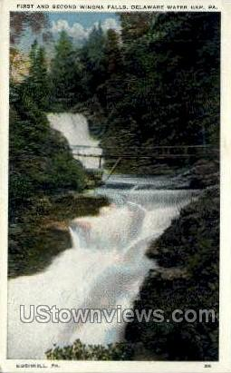 First & Second Winona Falls - Delaware Water Gap, Pennsylvania PA Postcard