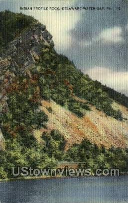 Indian Profile Rock - Delaware Water Gap, Pennsylvania PA Postcard