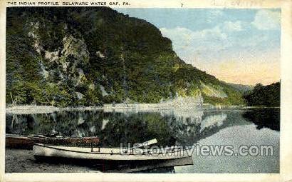 Indian Profile - Delaware Water Gap, Pennsylvania PA Postcard