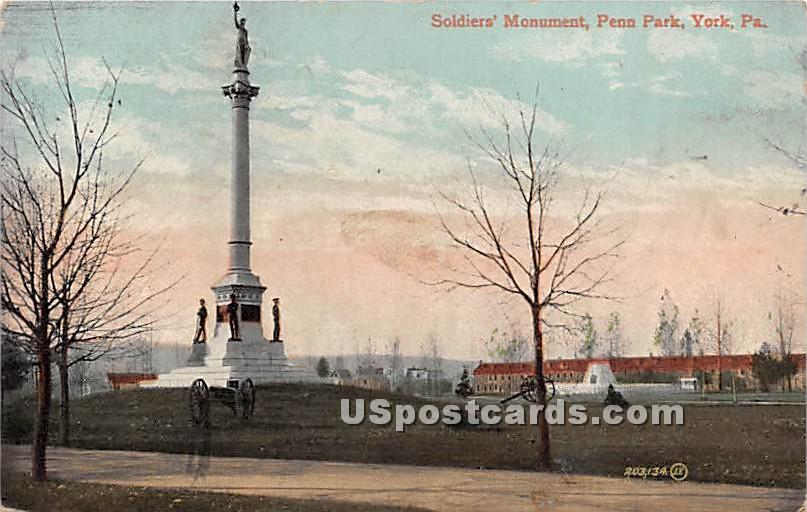 Soldiers' Monument Penn Park - York, Pennsylvania PA Postcard