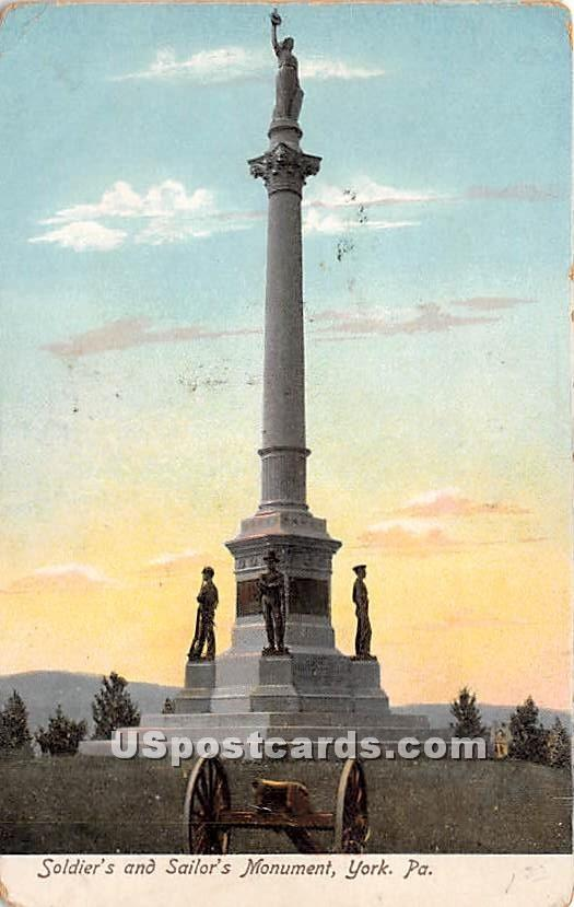 Soldier's & Sailor's Monument - York, Pennsylvania PA Postcard