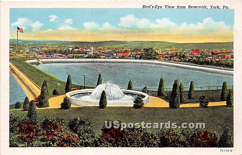 Reservoir - York, Pennsylvania PA Postcard