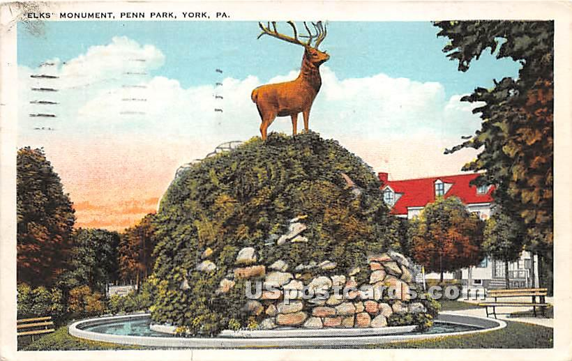 Elks Monument, Penn Park - York, Pennsylvania PA Postcard