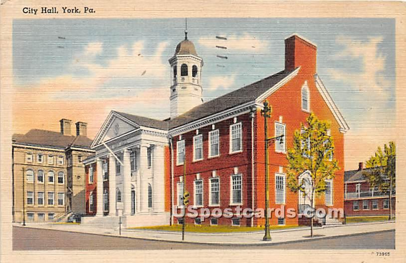 City Hall - York, Pennsylvania PA Postcard