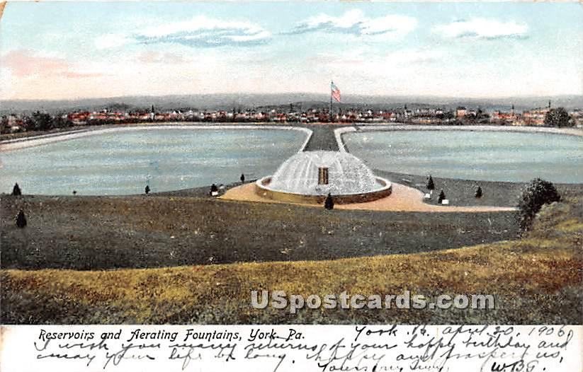 Reservoirs & Aerating Fountains - York, Pennsylvania PA Postcard