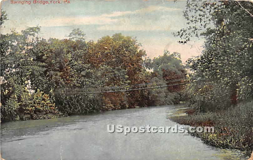 Swinging Bridge - York, Pennsylvania PA Postcard